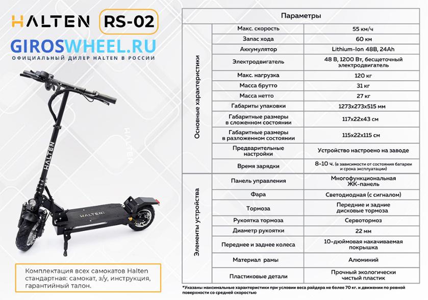 Техническиехарактеристики электросамоката Halten RS 02